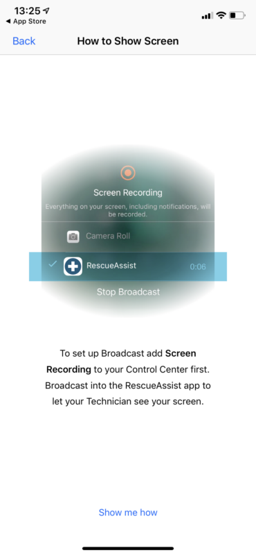 Broadcast to RescueAssist