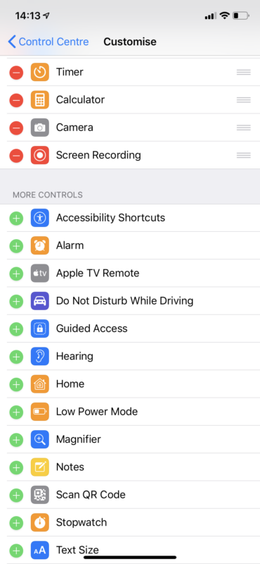 Control centre adding screen recording